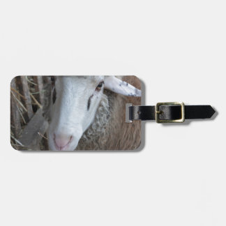 Étiquette À Bagage Moutons avec le foin