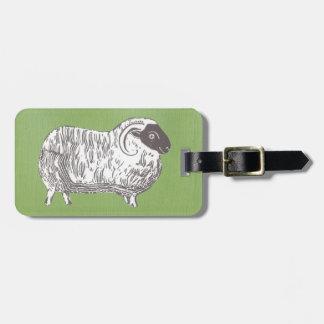 Étiquette À Bagage Moutons avec l'étiquette verte terreuse de bagage