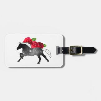 Étiquette À Bagage Noir frais de cheval de Galazy + Nébuleuse blanche
