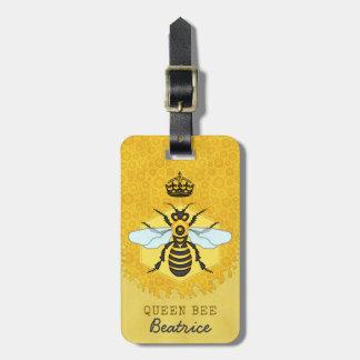 Étiquette À Bagage Nom de coutume de bourdon de reine des abeilles de