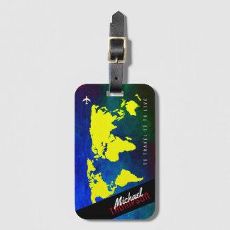 Étiquette À Bagage nom et avion sur le worldmap jaune