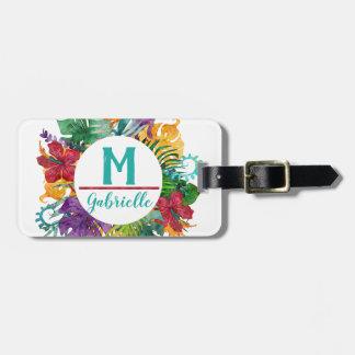Étiquette À Bagage Nom floral tropical d'initiale de monogramme de