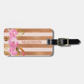 Étiquette À Bagage Nom rayé de monogramme d'or rose floral