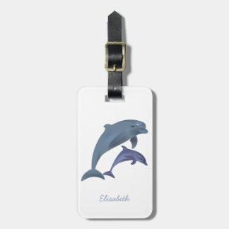 Étiquette À Bagage Nom sautant d'illustration de dauphins