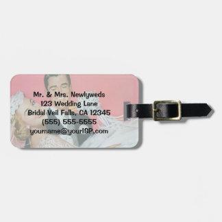 Étiquette À Bagage Nouveaux mariés vintages de mariage, jeune mariée