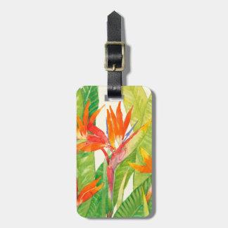 Étiquette À Bagage Oiseau des fleurs | du paradis tropical