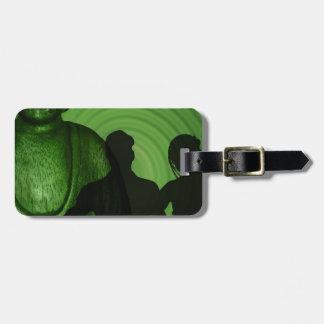 Étiquette À Bagage Ombre des humains devant Bouddha à la nuance verte