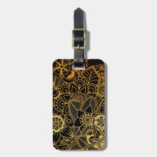 Étiquette À Bagage Or floral G523 de griffonnage d'étiquette de