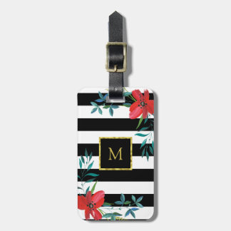 Étiquette À Bagage Or floral rayé noir et blanc fait sur commande de