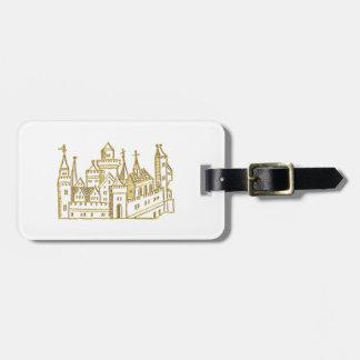 Étiquette À Bagage Or héraldique vintage de Faux de crête du château