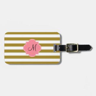 Étiquette À Bagage Or métallique de monogramme et motif rayé rose