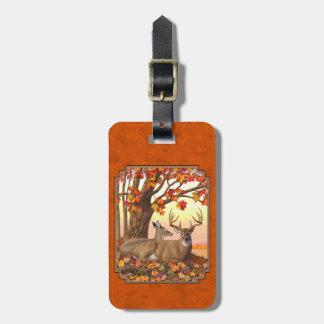 Étiquette À Bagage Orange d'automne d'arbre d'érable de cerf de