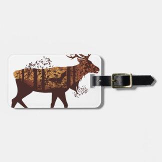 Étiquette À Bagage Paysage et cerfs communs 2 de forêt d'automne