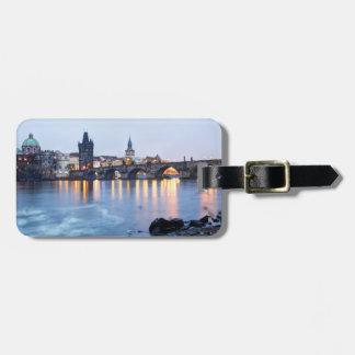 Étiquette À Bagage Photo crépusculaire de souvenir de vue de rivière