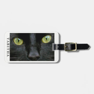 Étiquette À Bagage Photo de yeux verts de chat noir