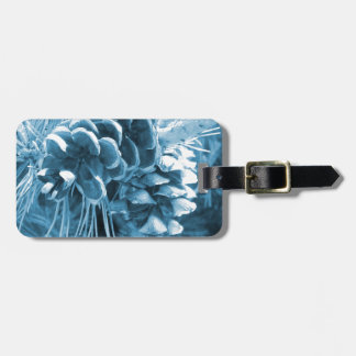 Étiquette À Bagage Pinecone primitif de bleu glacier de pin de Noël