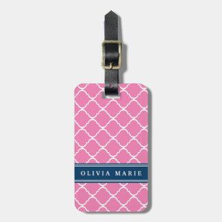 Étiquette À Bagage Plaque signalétique rose élégante de bleu marine