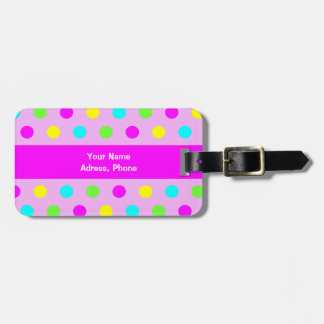 Étiquette À Bagage Pois coloré drôle - étiquette de bagage d'adresse