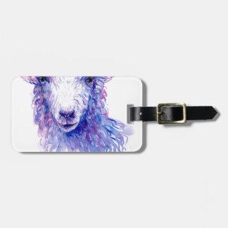 Étiquette À Bagage Pourpre bleu de moutons de peinture d'aquarelle
