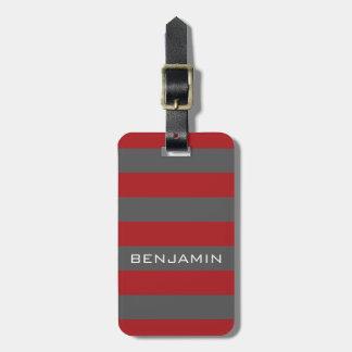Étiquette À Bagage Rayures rouges et grises de rugby avec le nom fait