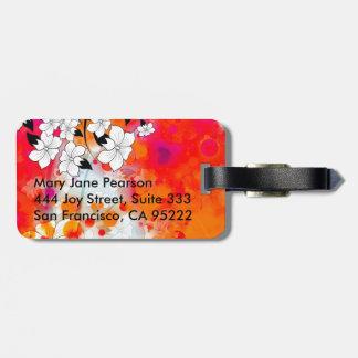 Étiquette À Bagage Résumé floral rêveur rouge audacieux et frais
