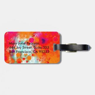 Étiquette À Bagage Résumé floral rêveur turquoise orange audacieux et