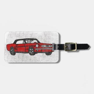 Étiquette À Bagage Rétro voiture de poney convertible rouge vintage