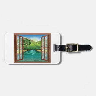 Étiquette À Bagage Rivière par des étiquettes d'un bagage de fenêtre