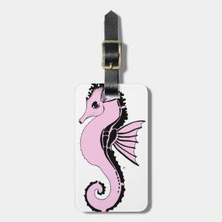 Étiquette À Bagage rose d'hippocampe