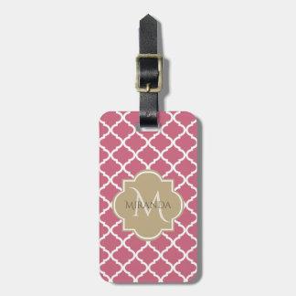 Étiquette À Bagage Rose rose Quatrefoil bronzage de monogramme chic