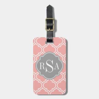 Étiquette À Bagage Rougissent le monogramme rose de gris de motif de