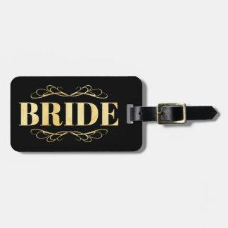Étiquette À Bagage Rouleau d'or de jeune mariée