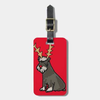 Étiquette À Bagage Schnauzer drôle avec Noël d'andouillers de renne