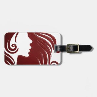 Étiquette À Bagage Silhouette de femme (arrière - plan rougeâtre