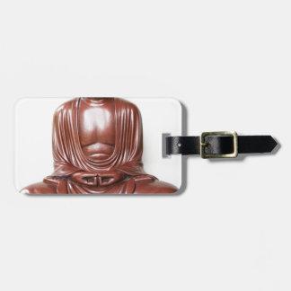 Étiquette À Bagage Statue de Bouddha - rouge foncé, minimal