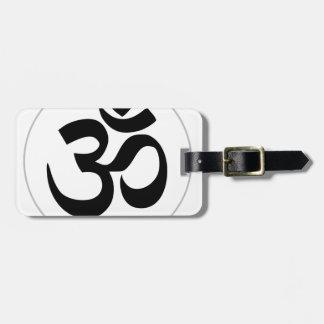 Étiquette À Bagage Symbole d'Aum (noir avec l'anneau argenté)