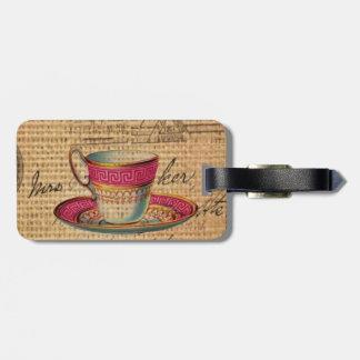 Étiquette À Bagage Tasse de thé rustique de victorian de rose de thé