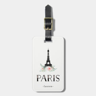 Étiquette À Bagage Tour Eiffel à la mode et rougissent les fleurs