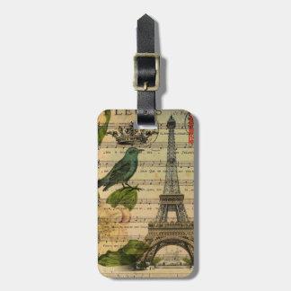 Étiquette À Bagage Tour Eiffel français de Paris d'oiseau d'art
