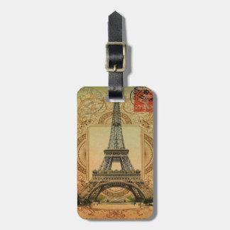 Étiquette À Bagage Tour Eiffel girly moderne de cru de motif de