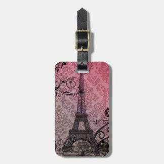 Étiquette À Bagage Tour Eiffel romantique de Paris de damassé de rose