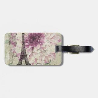 Étiquette À Bagage Tour Eiffel vintage floral chic de Boho Paris