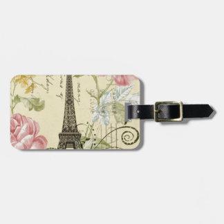 Étiquette À Bagage Tour Eiffel vintage floral chic Girly de Paris