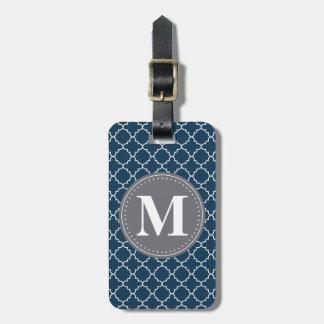 Étiquette À Bagage Trellis marocain décoré d'un monogramme dans la