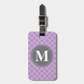 Étiquette À Bagage Trellis marocain décoré d'un monogramme dans le