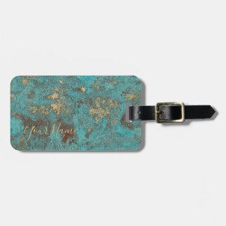 Étiquette À Bagage Turquoise Teal et antiquité vintage de cuivre d'or