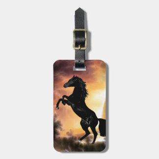 Étiquette À Bagage Un élevage frison de cheval d'étalon