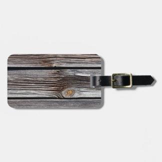 Étiquette À Bagage Vieux conseils en bois gris