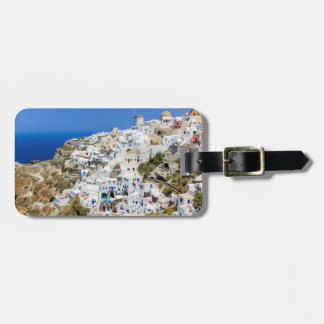 Étiquette À Bagage Village d'Oia sur l'île de Santorini, du nord,