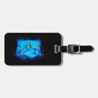 Étiquette À Bagage Visage de chat bleu